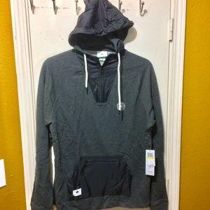 LRG men's NATURE BOYZ nylon-pouch 1/4 zip hoodie
